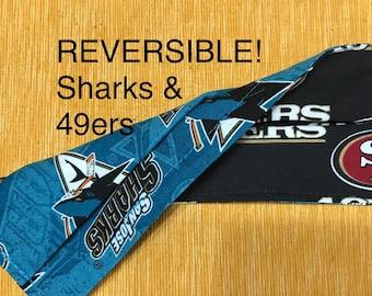 SF 49ers & San Jose Sharks Reversible Face Mask,  adjustable elastic ear loops, nose wire, 2-layer, adult, San Francisco NFL NHL hockey