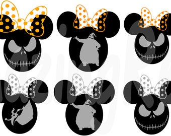 Nightmare before Christmas in Minnie Mouse Ear SVG PNG Vector Cutting File for Cricut and Silhouette