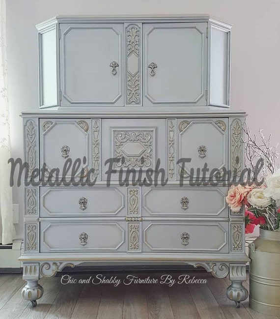 TUTORIAL - Painting Furniture - Metallic Finish With Chic and Shabby Furniture By Rebecca