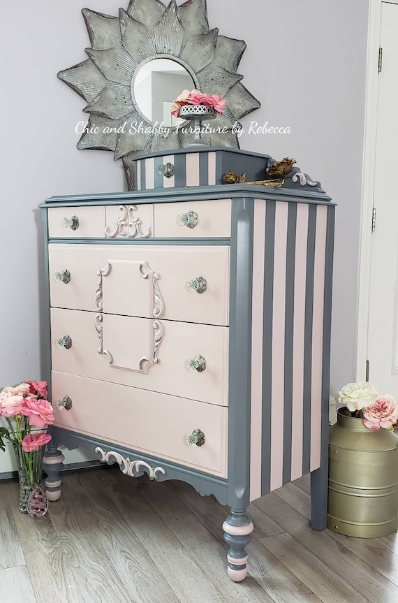 Vintage dresser - painted furniture- pink painted - gray striped paintdresser - vanity - dresser