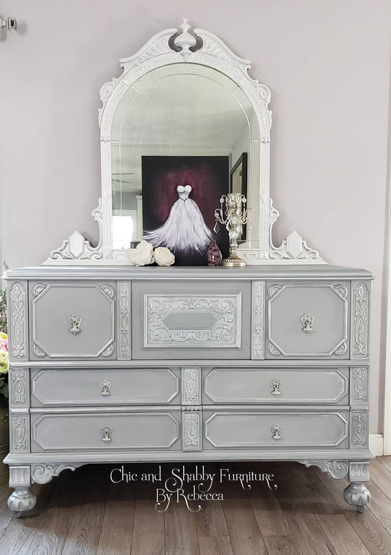 SOLD....Unique Vintage Dresser and Mirror