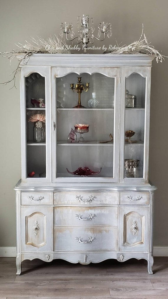SOLD!.....Rustic, Boho, Metallic French Style Hutch