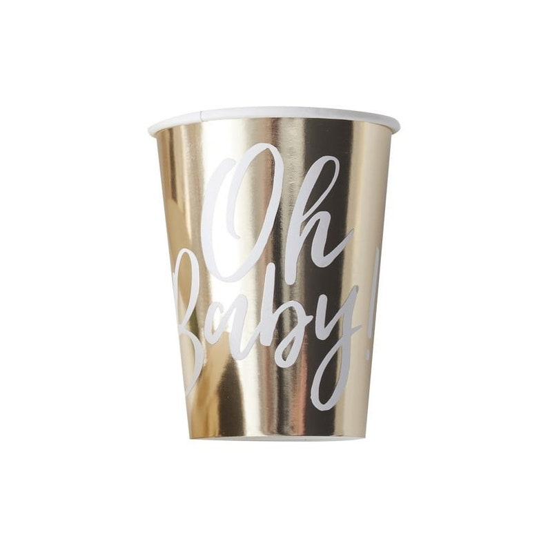 Oh Baby Cups Parents To Be Decorations Gold Party Girl boy Gifts
