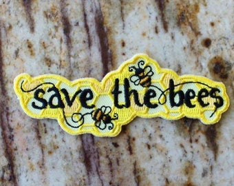 Save the Bees Honey Insects Yellow Bee Bumble Fun Patch Embroidered