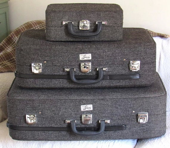 Grey Tweed Skyway Luggage Set