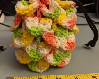 Dragon Scale Crochet Dice Bag - Yellow, Pink, and Green