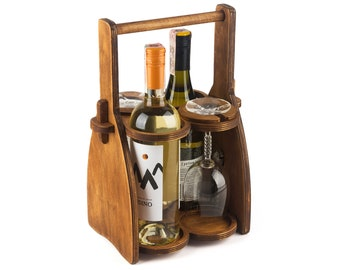 Wood Wine Bottle Holder, Wine Rack, Beer Caddy, Wine Tote, Wooden wine box with glass Holder, Wedding Gift, Wine Carrier