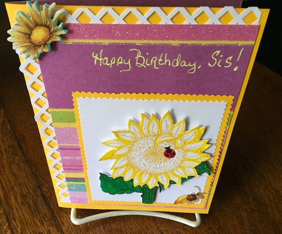 Birthday Card Sister Sunflowers Birthday Cake Sister Bff Etsy