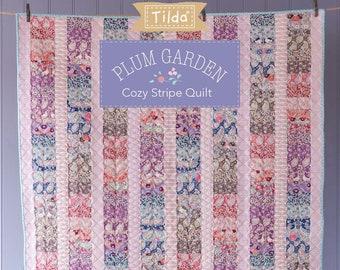 "TILDA Plum Garden COZY STRIPE Quilt & Floor Pillow Kit with Backing   50"" x 70""   32"" x 30""   Mother's Day Gift"