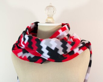 Fleece Scarf | Red Black White and Beige Houndstooth Scarf | Polar Fleece Scarf | Houndstooth Scarf | Houndstooth Fleece Scarf | Birthday