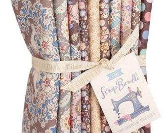 Preorder! TILDA SCRAP Brown/Sand/Creme Fat Quarter Bundle   Tilda Basic Quilting Fabric Bundle   10 Blue Fat Quarters   Gift