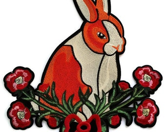 8874b279696 XL Rabbit with flowers quality embroidered iron on patch