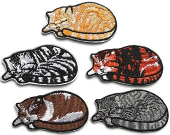 Five Sleepy Cats Embroidered Patches Iron On