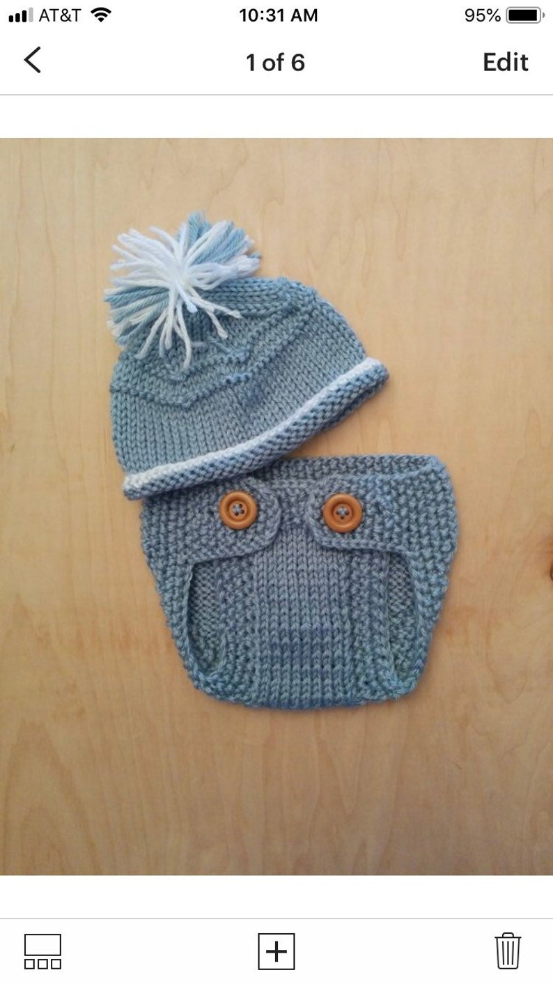 Newborn Coming Home Outfit Baby Shower Gift,Photo Prop Ready to Ship Knitting Diaper Cover Knit Baby Boy Set Beanie Hat and Diaper Cover