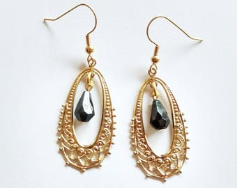 CLEARANCE Gold Filigree Teardrop with Black Glass Drop Beads