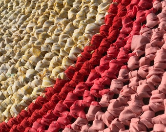 Rug Spring Crocheted Rag Rug Yellow/Peach/Pink 40 inches or 101 centimeters