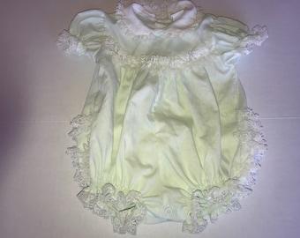 Vintage lace bubble romper, 6-9 months, vintage baby onsie