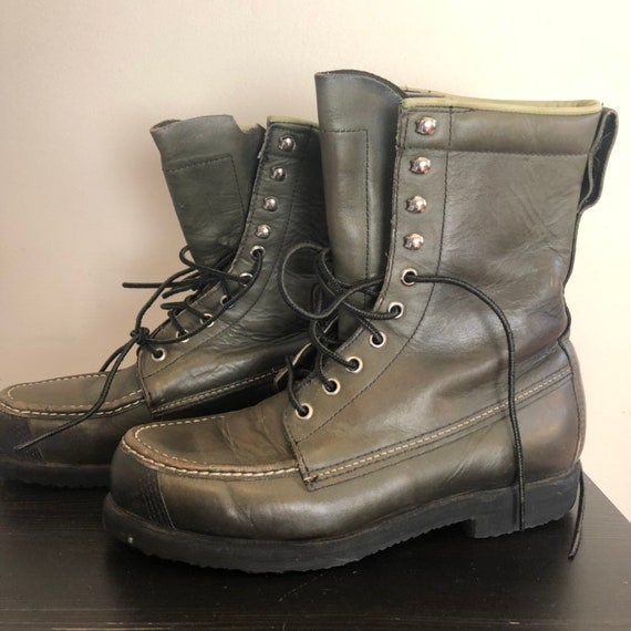 Vintage Cabela boots, green boots, work boots, yee