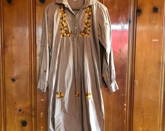 Vintage boho festival dress with gold embroidery