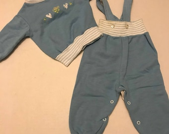 Vintage baby blue overalls with matching sweater embroidered size 6 months