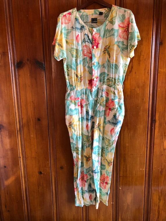 Vintage romper, floral jumpsuit, 80s romper, vinta