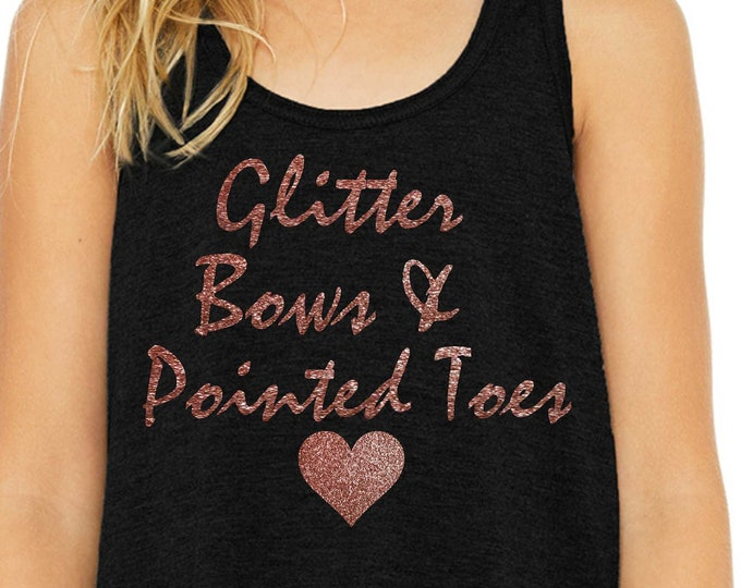 8a0e4eb0ae0f Girls ballet tank / glitter bows and pointed toes top / youth ballet shirts  / girls
