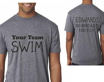 Adult swim t-shirt / Custom Swim Dad Shirt / mens swim shirts / custom swim tee / unisex personalized swim shirt / Swim mom or dad tshirt /