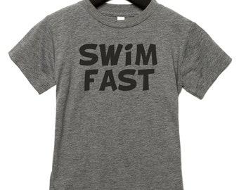 Boys Swim t-shirt, Swim Fast shirt, shirts with sayings, I swim Fast tee, Soft, breathable, tagless, youth unisex tees, triblended, soft.