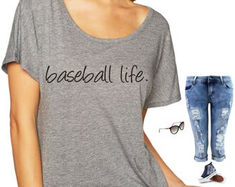 Ladies Baseball Shirt - Baseball life pullover Mom Shirt - comfy Baseball top - Womens Baseball tee - small, medium, large, xl , xxl, xxxl