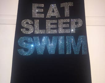 Rhinestone Swim tank top / swimmer gift / bling swim shirt / jeweled swim mom tshirt / women's swim shirts / eat sleep swim tank top