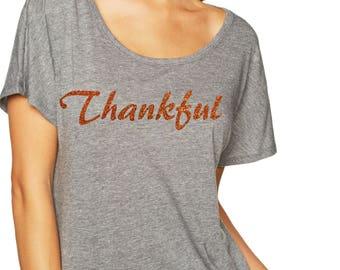 thankful burnt orange glitter shirt. ladies thanksgiving t shirt . christmas holiday tees . Holiday shirt . Womens top . 2x, 1x, xl, large,
