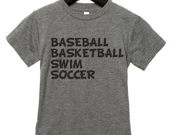 Boys graphic tshirt, soft, triblend shirt, baseball, basketball, swim, soccer shirt - cute boys shirts with sayings , youth tshirts, soccer