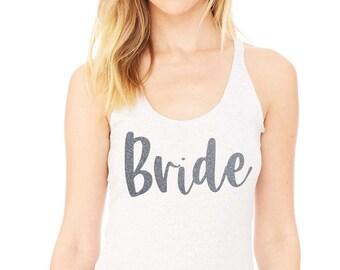 Bride tank top , Silver glitter bride shirt, loose, flowy bridesmaid tank tops , bridesmaid eco tanks , Bridesmaid t-shirts , Bridal