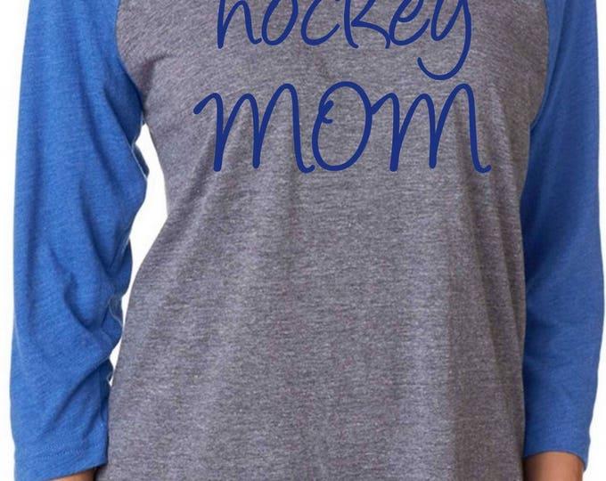 Hockey Mom Shirt  . Womens Hockey  Tee  -  loose, 3/4 sleeve , soft, cute, unisex tee .  - XXXL, XXL, XL, Large, Medium, Small