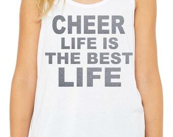 girls cheer glitter shirt / cheer life shirt / youth chearleading tank top / girls custom chearleading tank / cheer tshirt / cheer top