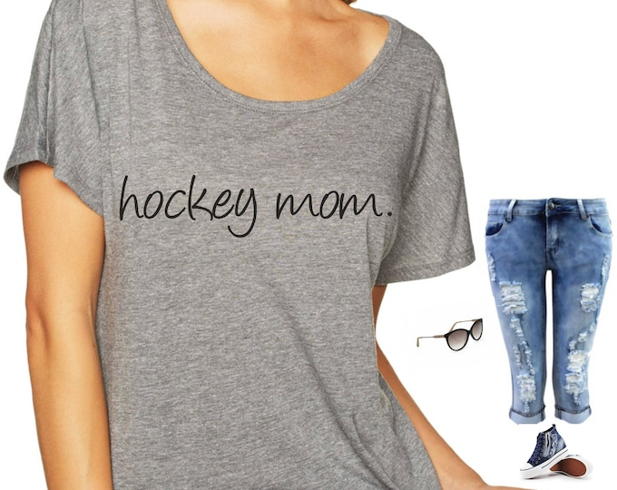 Hockey Mom Shirt . Loose Fit ladies hockey shirt . Field Hockey Tshirt - dolman sleeves, off shoulder, slouchy - xxxl, xxl, xl, large, ETC