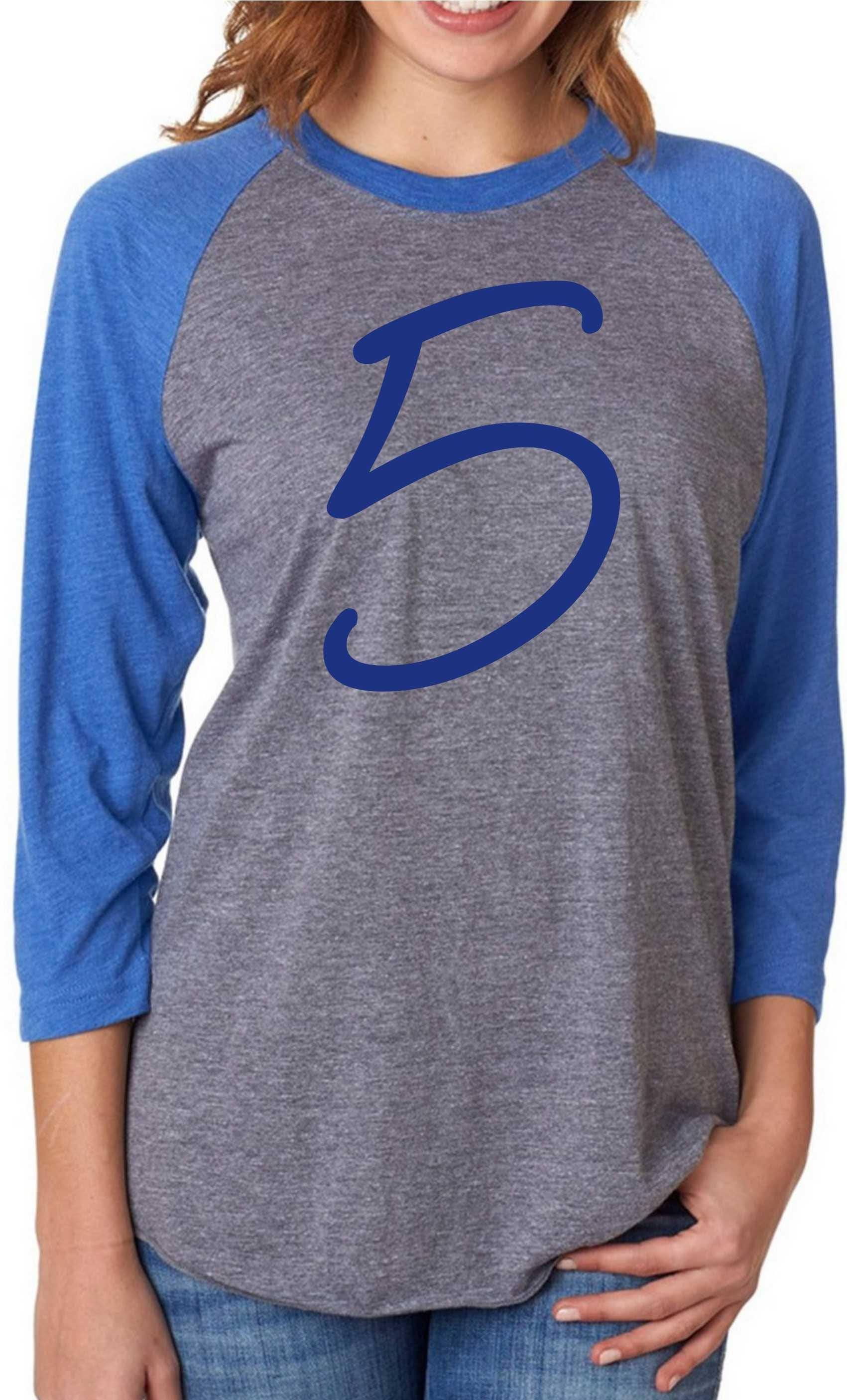 55b984982 custom jersey raglan shirt - Royal blue football Tshirt - personalized  custom jersey - small