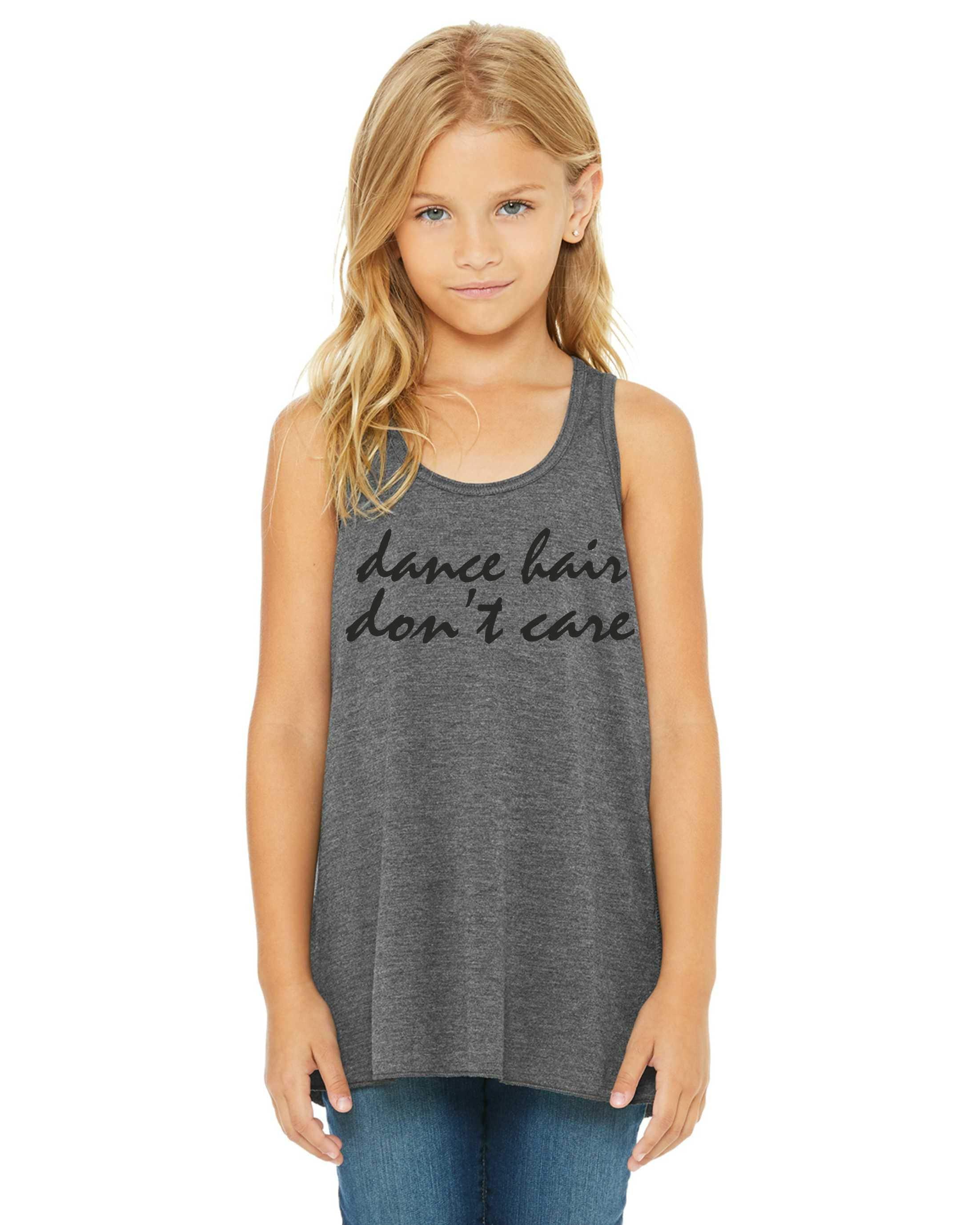 0f4fd9b5da8f83 dance hair don t care tank top   girls dance shirts   youth dance tshirt    dance tops   grey - black writing   small