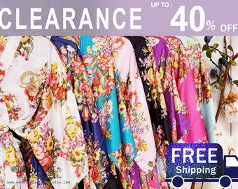Sale! Silk Bridesmaid Robes - Bridesmaid Gifts - Floral Robe - Getting Ready Robes - Bridal Party Gift - Kimono Robe - Bridesmaid Robes Set