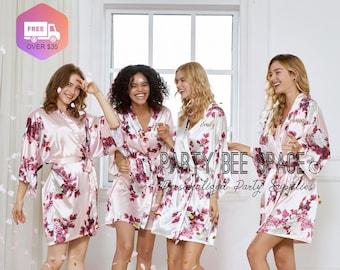 Silky Bridesmaid Robes - Bridesmaid Gifts Floral Robe - Getting Ready Robes - Bridal Party Gift - Kimono Robe Flash Sale