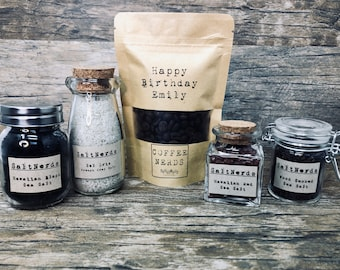 Personalized • Micro Roasted Artisan CoffeeNerds Gift Set with Gourmet SaltNerds Samplers and Coffee Dry Rub • Choose Coffee Bean Variety
