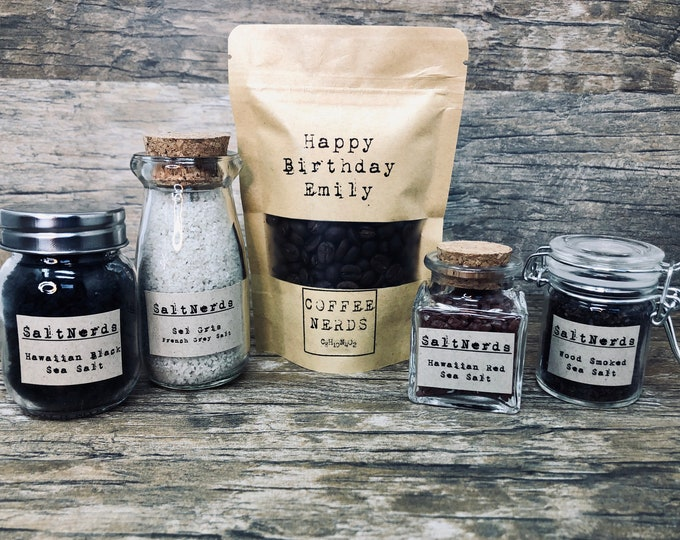 Featured listing image: Personalized • Micro Roasted Artisan CoffeeNerds Gift Set with Gourmet SaltNerds Samplers and Coffee Dry Rub • Choose Coffee Bean Variety