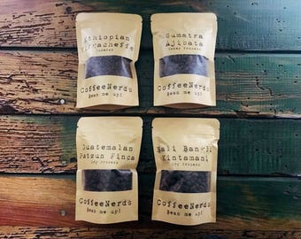 CoffeeNerds • 4 Pack Micro Roasted Coffee Sampler Gift Set • Gourmet Coffee Gifts • Coffee Lover • 100% Arabica Whole Bean Specialty Coffee