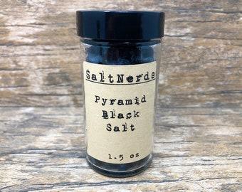 Pyramid Black Salt Glass Jar • 1.5 oz • Mediterranean Flake Sea Salt • Activated Charcoal