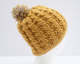 Soft Gold Crochet Beanie - Cable Stitch