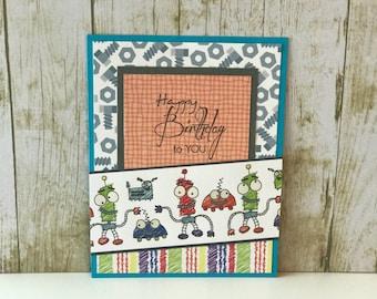 Birthday card for boys, birthday card, greeting card, handmade card, little boy card, robot card, birthday card for him, kids birthday card