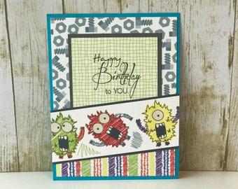 Birthday card for boys, birthday card, greeting card, handmade card, little boy card, monster card, birthday card for him, kid birthday card