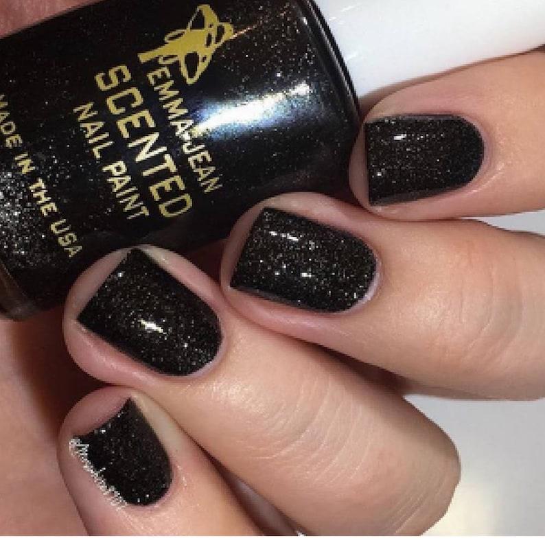 Black Glitter Nail Polish Let\'s Party Vegan Scented Nail | Etsy