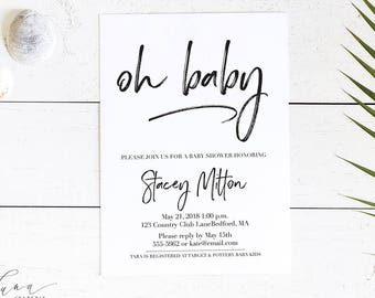 Oh Baby Invitation, Elegant Baby Shower, Simple Baby Shower Invitation, Oh Boy Invitation, Gender Neutral, Oh Girl, Minimal Baby Shower 002