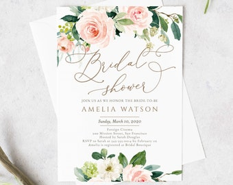 bridal shower instant download template editable greenery bridal shower invitation printable floral wedding shower inviteboho diy eb002